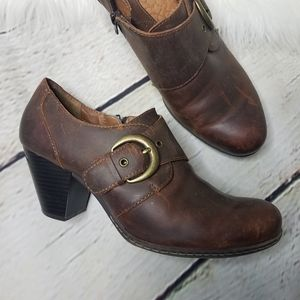 Born B.O.C. Leather Distressed Ankle Heel Booties